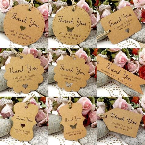 Thank You Card Wedding Gift - personalized brown kraft wedding favor thank you gift tags wedding favors