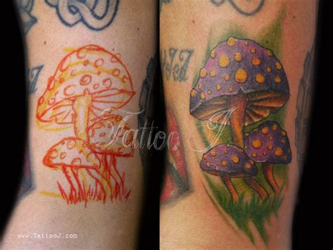 mushrooms tattoo designs color designs