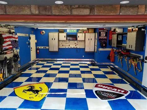themed garage floors man caves featuring logos elite