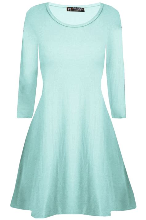 swing skater dress womens plain jersey flared long sleeve ladies party mini