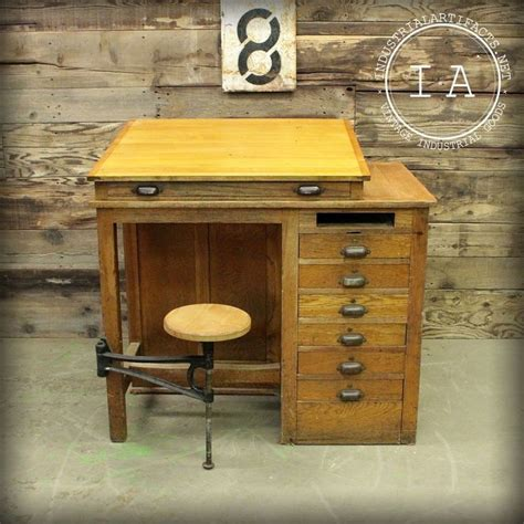 Antique Wooden Drafting Table Vintage Industrial 7 Drawer Swing Stool Wooden Drafting Table School Antique Vintage Antiques