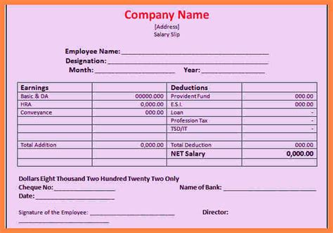 6 simple salary slip format in excel salary slip