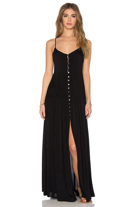 Aidan Kaos Pink indah uma pleat button maxi dress in black lyst