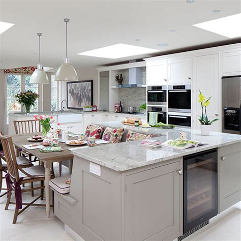 island units for kitchens pale grey kitchen with island unit kitchen decorating ideal home