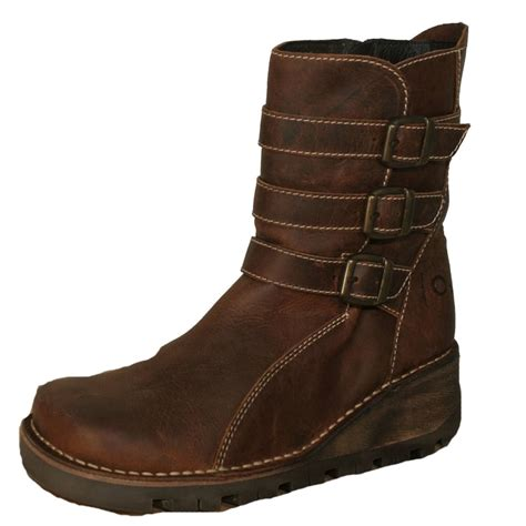 oxygen oxygen ystwyth boot mid height wedge leather
