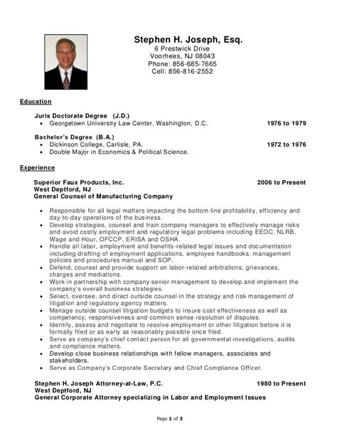 Employment Resume by Stephen H Joseph Resume Labor And Employment