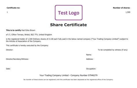 share certificate template create perfect share