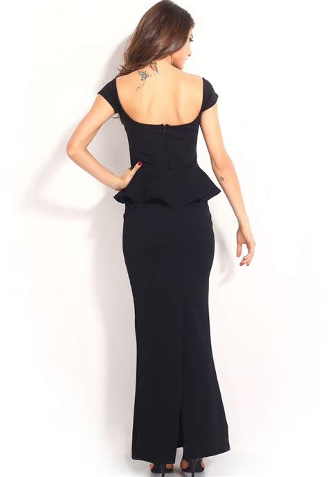 Nasjmi Flowery Peplum Maxi Dress black peplum maxi dress uniqistic