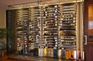 Contemporary Oak Kitchens - glass wine room in the dining room 1 modern wine cellar montreal by millesime wine racks