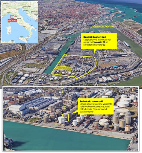 la nel porto livorno esplosione nel porto la mappa corriere it
