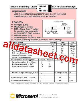 1n4148 diode datasheet pdf 1n4148 datasheet pdf microsemi corporation