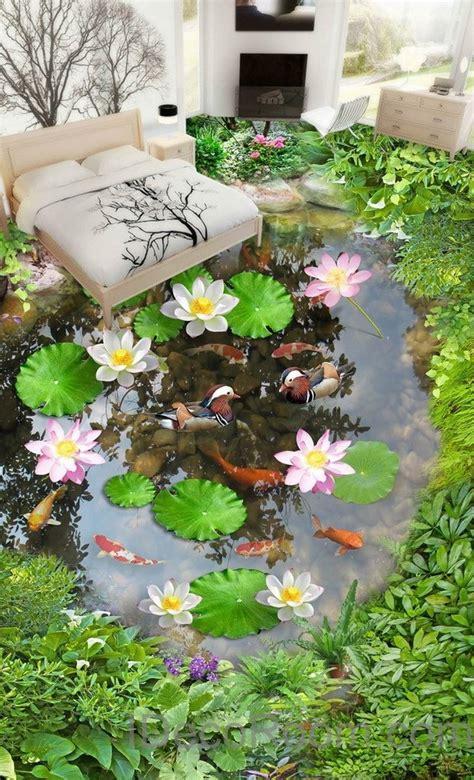 lilypad lotus fish cobble stone duck pond  floor