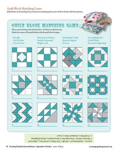 pattern matching quiz creating together journal quilt pattern matching game