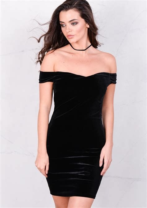 Shoulder Velvet Bodycon Dress velvet the shoulder sweetheart mini bodycon dress black