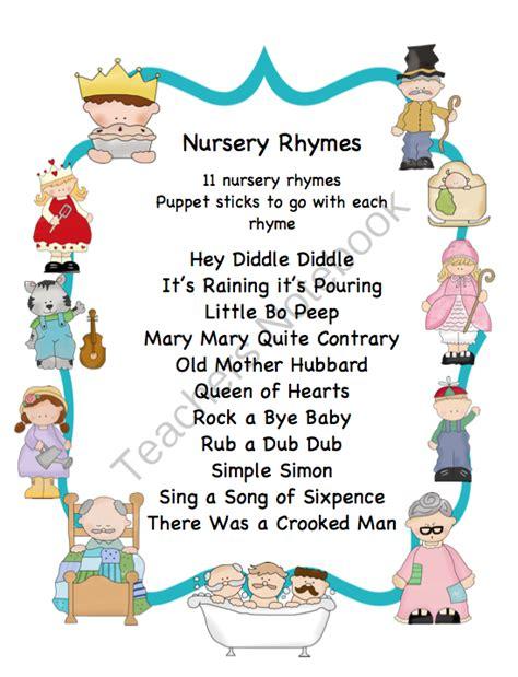 printable children s nursery rhymes children s nursery rhymes set 2 preschool printables