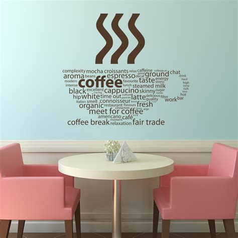 wall transfers stickers coffee types kitchen cafe wall decals wall stickers