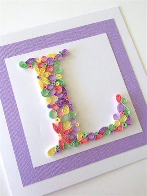 Handmade L - items similar to handmade quilled card monogram initial