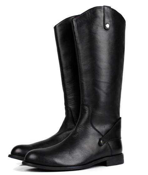 mens high boots leather loisword large size eur45 black knee high mens boots