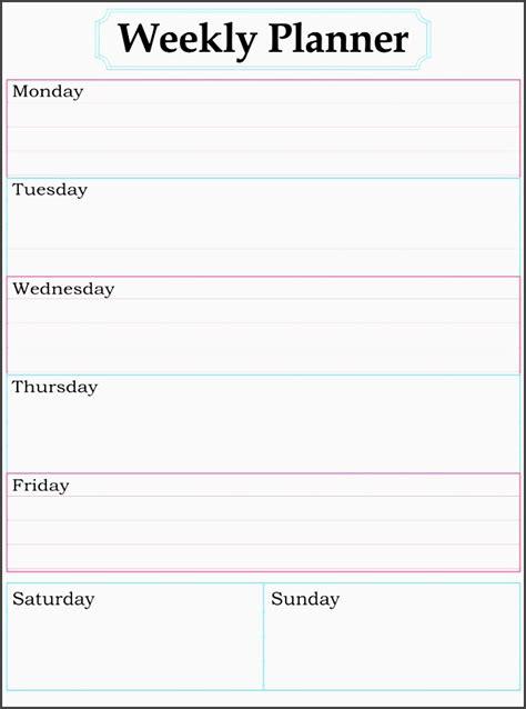 printable editable weekly planner 8 editable one week planner sletemplatess