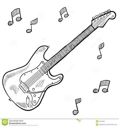 doodle do guitarra electric guitar drawing stock vector illustration of