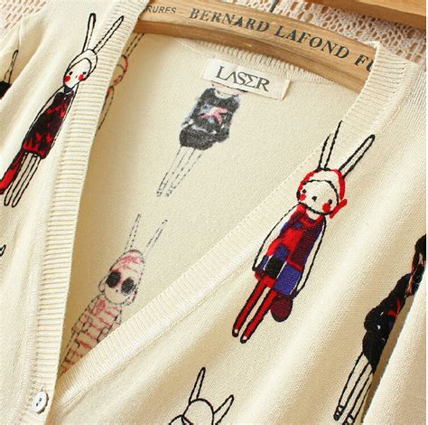Sweety Rabbit Sweater White Sweater Wanita Sweater Rabbit sweet rabbit sleeved knit cardigan