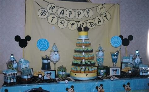 mickey mouse table treat me sweet mickey mouse 1st birthday dessert table