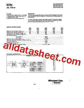 aa118 diode datasheet aa118 datasheet pdf microsemi corporation