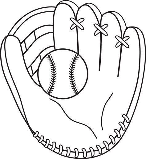 Coloring Page Baseball by Baseball And Mitt Line Printables Coloring Pages