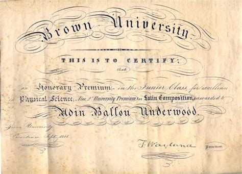 Ie Brown Mba Diploma by Brown Certificate Signed By Francis Wayland