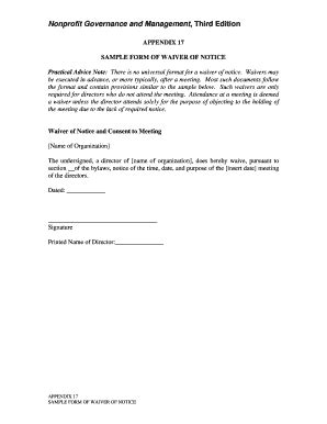 Sle Waiver Form Templates Fillable Printable Sles For Pdf Word Pdffiller Waiver Of Notice Of Board Meeting Template