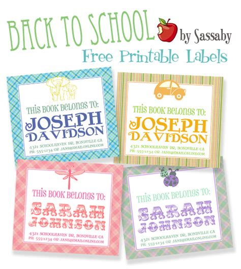 printable name labels for school books labels sassaby blog