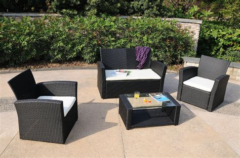 Sunnydaze Adelaide 4 Piece Rattan Patio Furniture Set 4 Wicker Patio Furniture