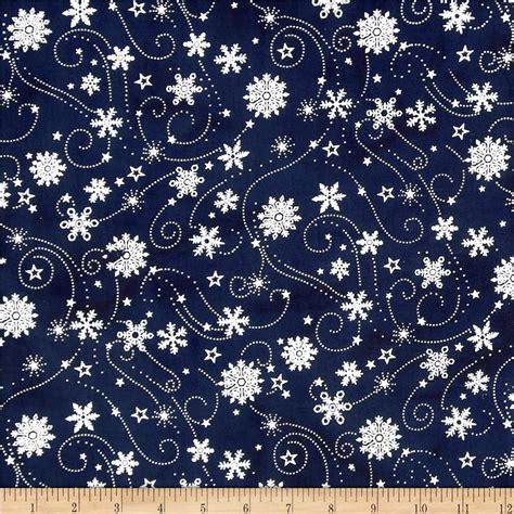 Batik Navy island batik snowflake swirl metallic navy