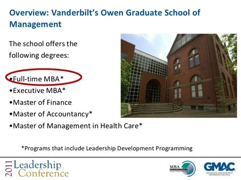 Vanderbilt Owen Mba Curriculum by Leadership Development In Emba Programs Gmac Leadership