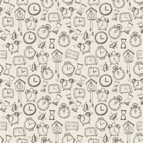 doodle background seamless background with doodle sketch watches a stock