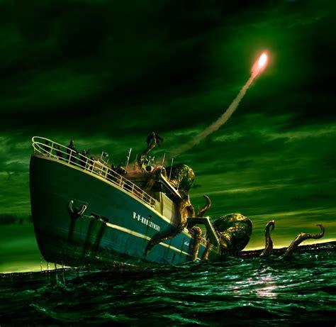 giant squid attacks fishing boat incredible matte paintings showme design
