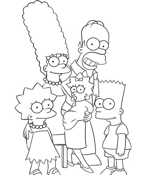 coloring pages of the simpsons christmas whole simpsons family coloring page to print or download