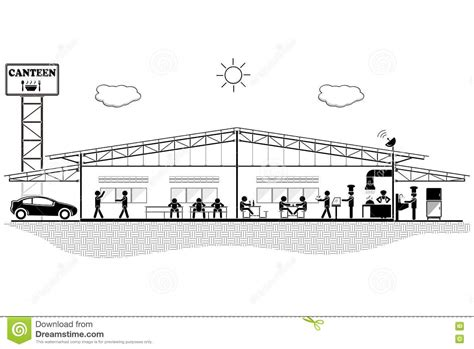 section structure canteen building structure section for canteen vector