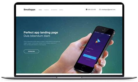 Small Apps Free App Landing Page Template Iphone App Landing Page Template
