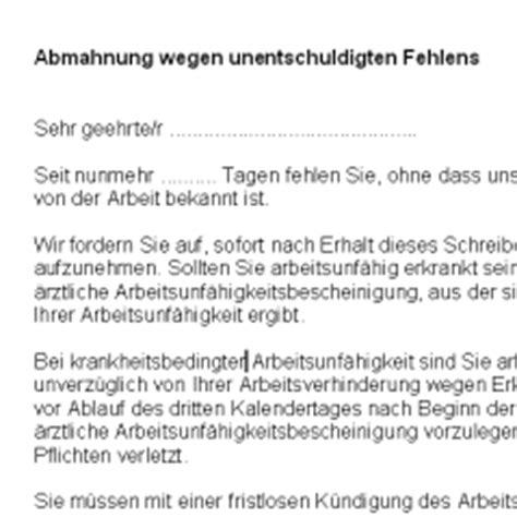 Abmahnung Muster Arbeitsrecht Abmahnung Wegen Unentschuldigten Fehlens Deutsche Anwaltshotline