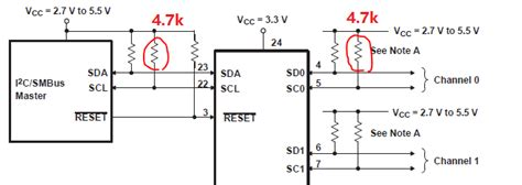 series resistors i2c pca9548a master and side i2c line total pull up resistor calculation when channel x is