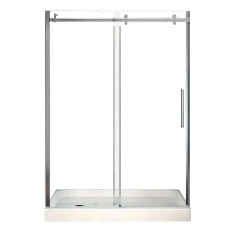 halo shower door maax halo 32 in x 60 in x 83 in frameless shower door with white base left drain 105978 000