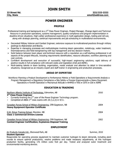 power engineer resume template premium resume sles