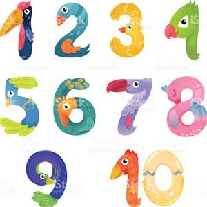 Bird Number Numbers Like Birds In Style Stock Vector