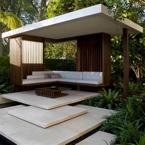 modern backyard design steps which lead to this modern gazebo set within