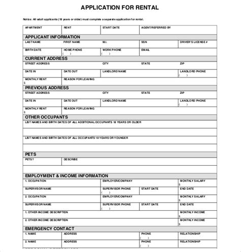 rental application template 13 rental application templates free sle exle