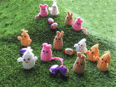 easter knits creme egg knits ducks rabbits and mice