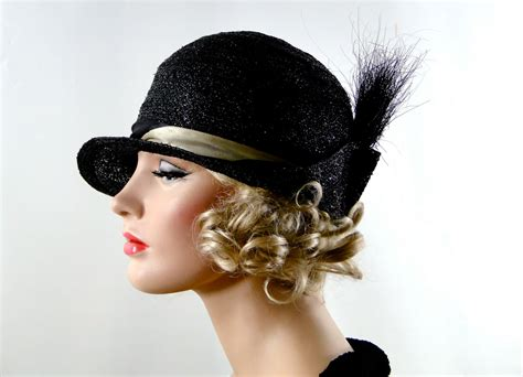 1920s black cloche hat womens vintage accessories