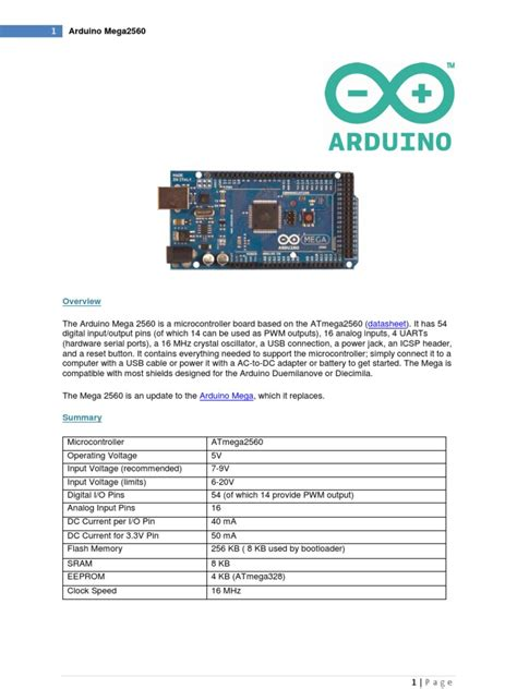datasheet arduino mega arduino microcontroller