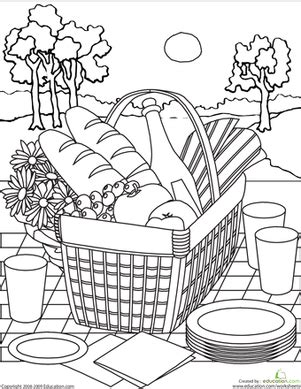 picnic coloring pages preschool color the picnic basket worksheet education com